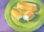 Twinkies on Green Plate