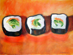 Sushi on Orange Plate