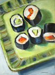 Vegetarian Sushi on Green Plate